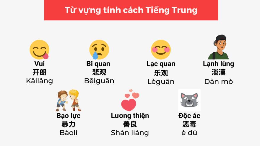 Từ vựng về tính cách con người trong tiếng Trung